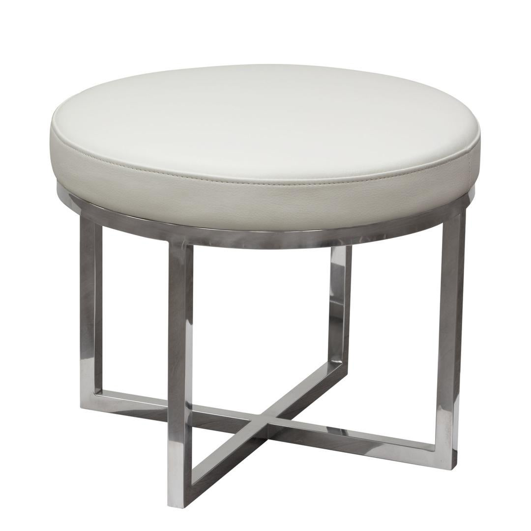 Leather Upholstered Round Accent Stool With Cross Metal Legs
