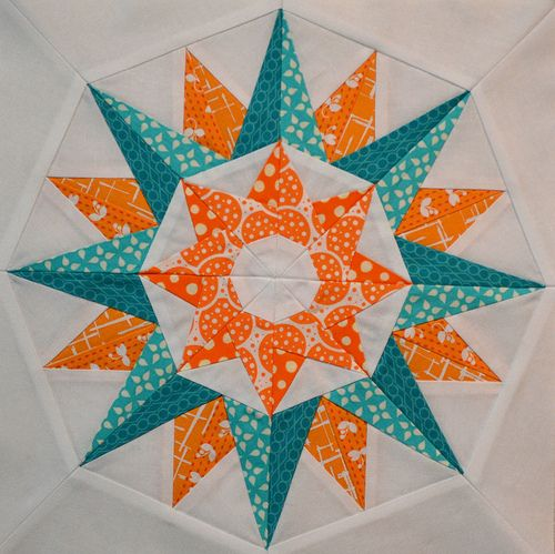 """Kaleidoscope"" blocks made by Jen Johnston. I can't believe each block has 88 pieces though!"