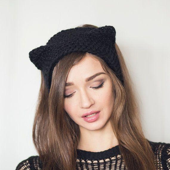 Knitted Winter Headband Black Cat ears Headband with ears ear warmer ...