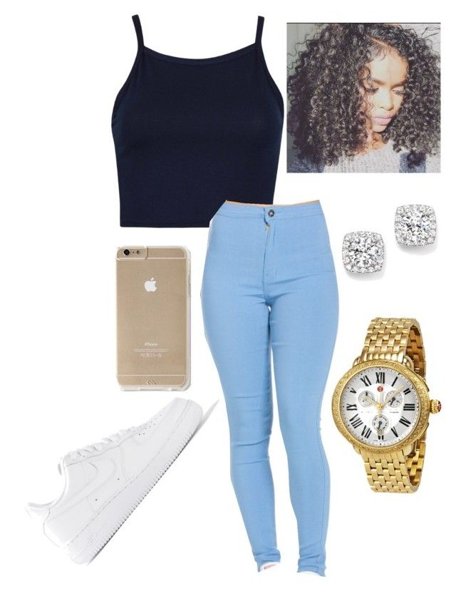 """""""Something comfortable 😕"""" by goddesstillerr on Polyvore featuring Michele, NIKE and Bloomingdale's"""