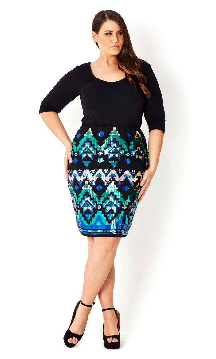 CITY CHIC - SEQUIN LOVE SKIRT - Women's plus size fashion | Chic ...