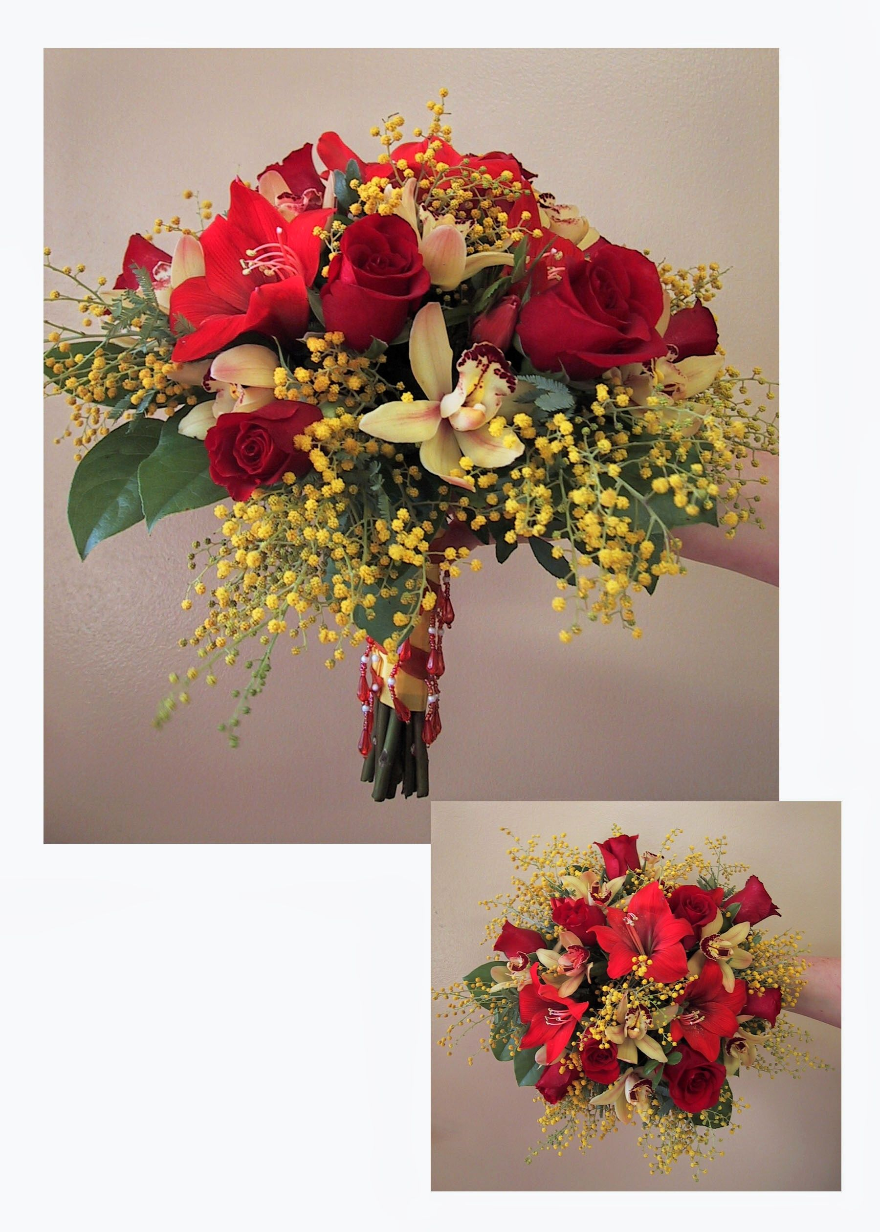 Posy Wedding Bouquet With Red Roses Glad Blossoms Cymidium Orchids Floralkuhlmanns
