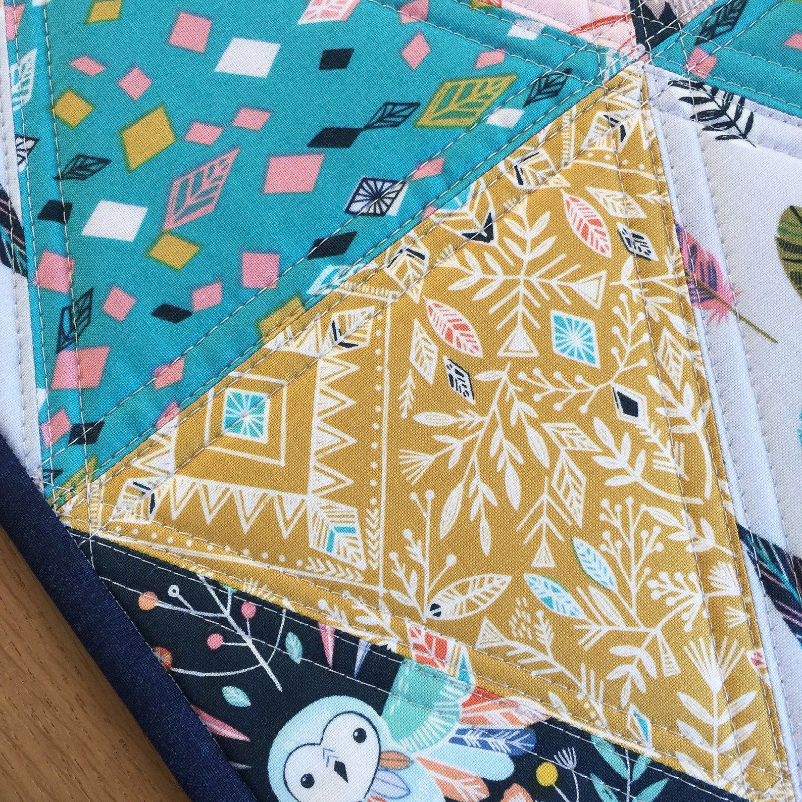Colourful Quilted Table Runner Modern Triangle Table Runner Quilted Table Topper Teal Sideboard Runner Coral Dresser Runner Quilted Table Runners Christmas Quilted Table Toppers Quilted Table Runners