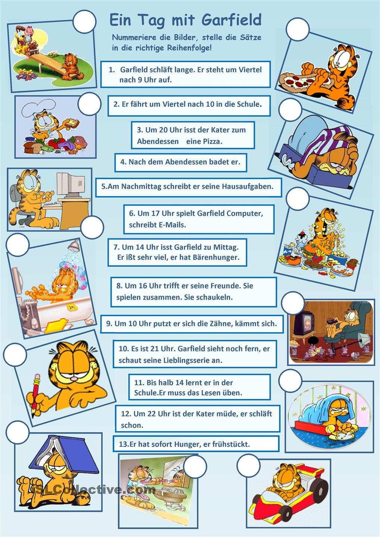 Was macht Garfield an einem Tag?   Deutsch übungen, Schreiben ...