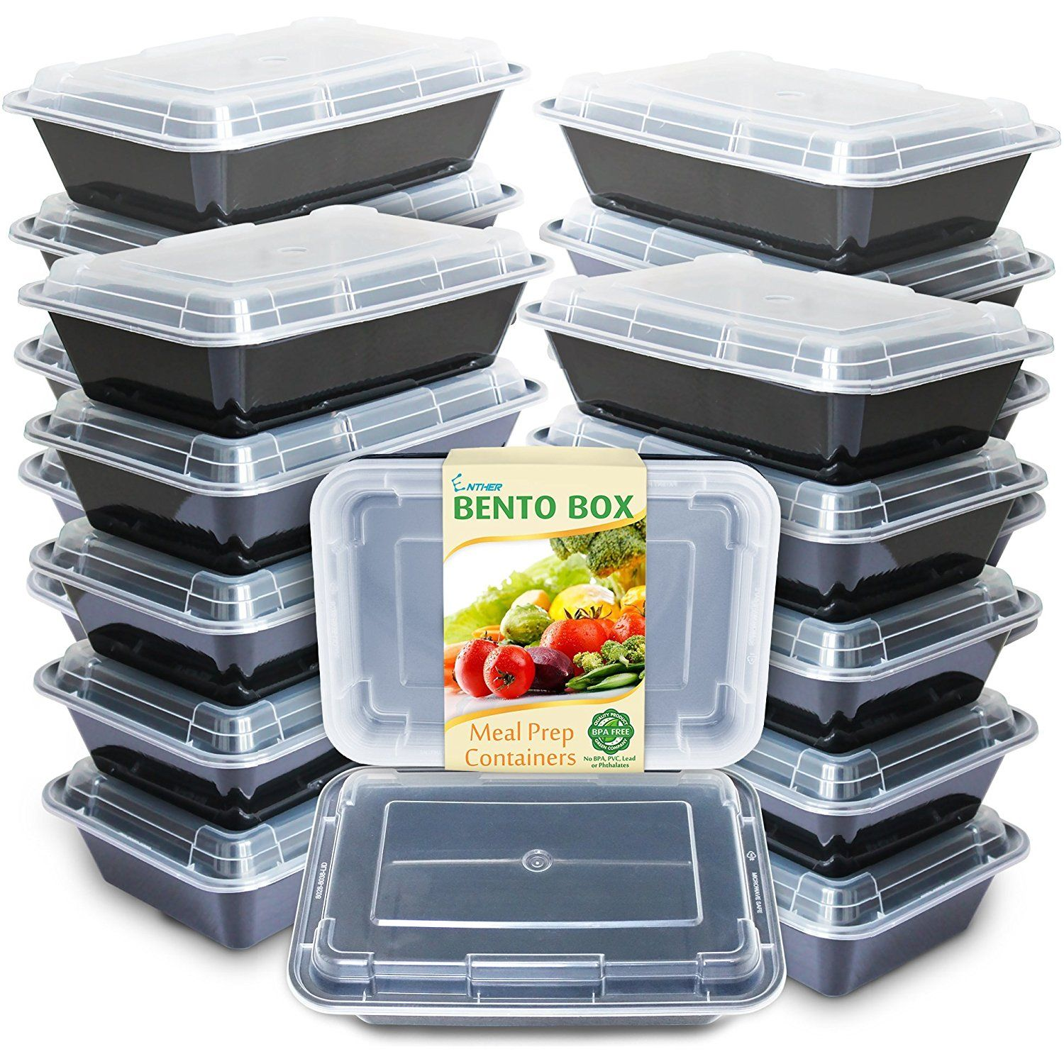 016e954d56ed Enther Meal Prep Containers [20 Pack] Single 1 Compartment with Lids ...