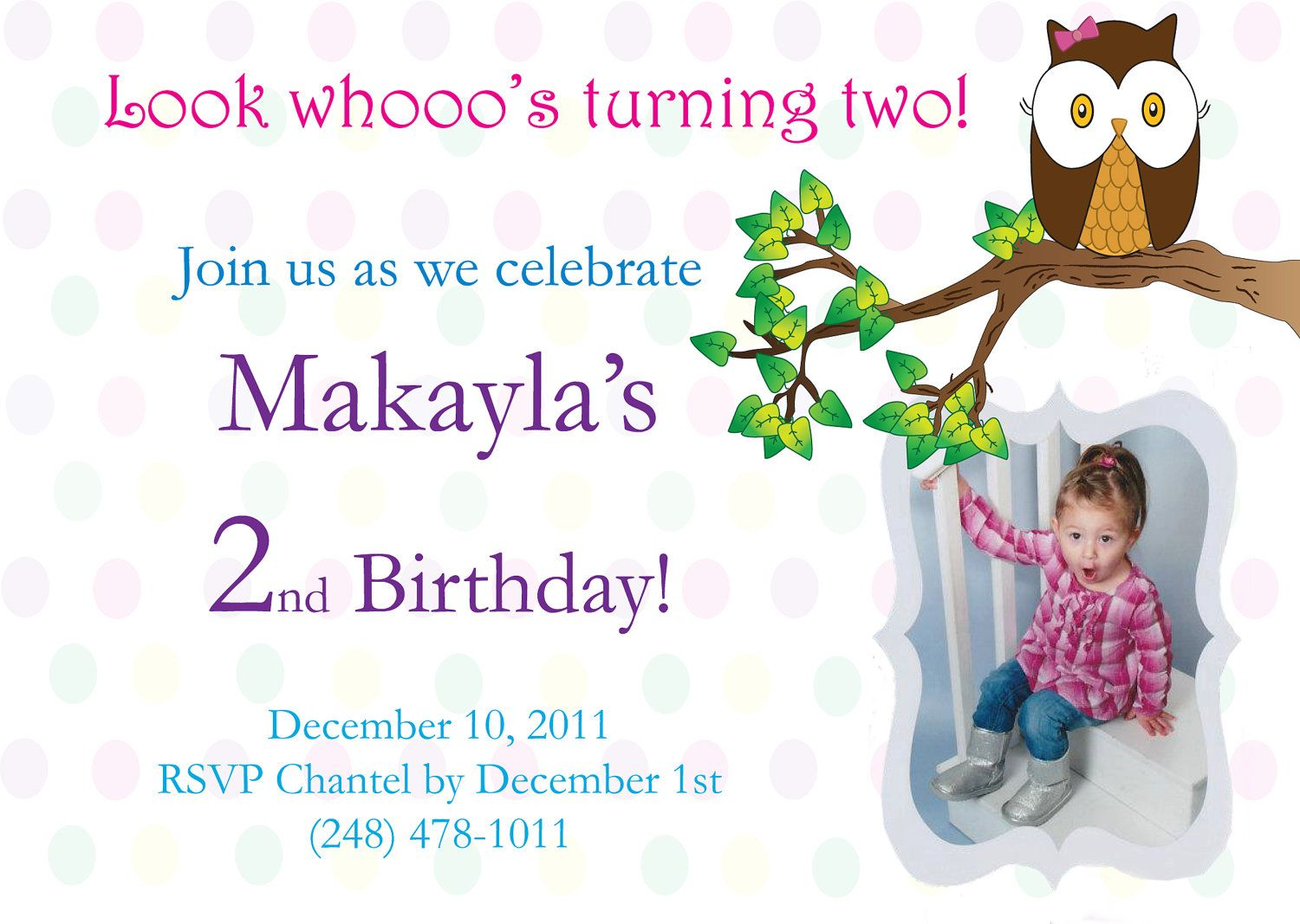 Owl Theme Whoooo Turning Two Birthday Invitation Birthdays - Birthday invitation message for 2 year old