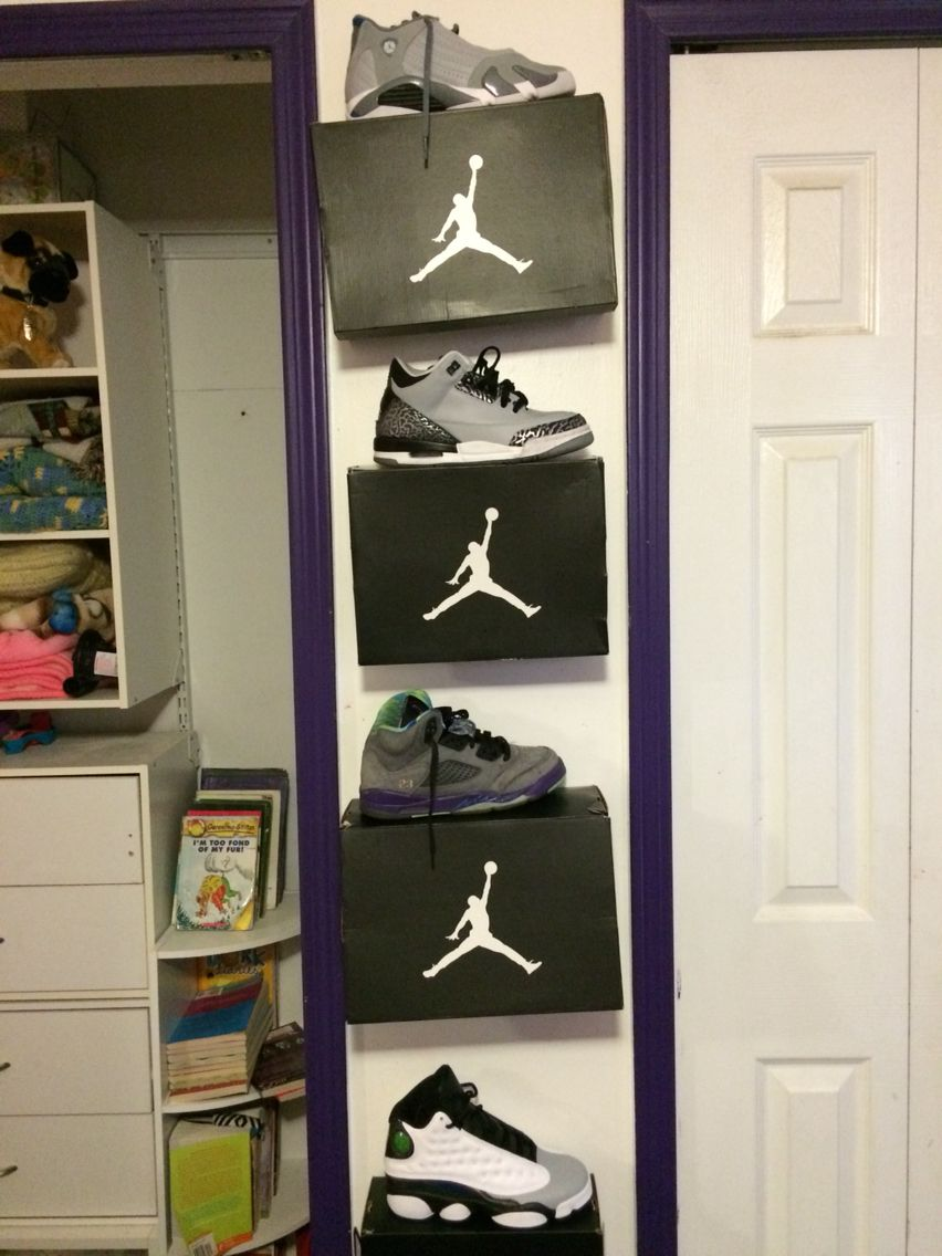 1cfad67e7f4f What a great DIY way to organize your tennis shoes. Use push pins to hang  the boxes on the wall and display them just like the shoe store does.