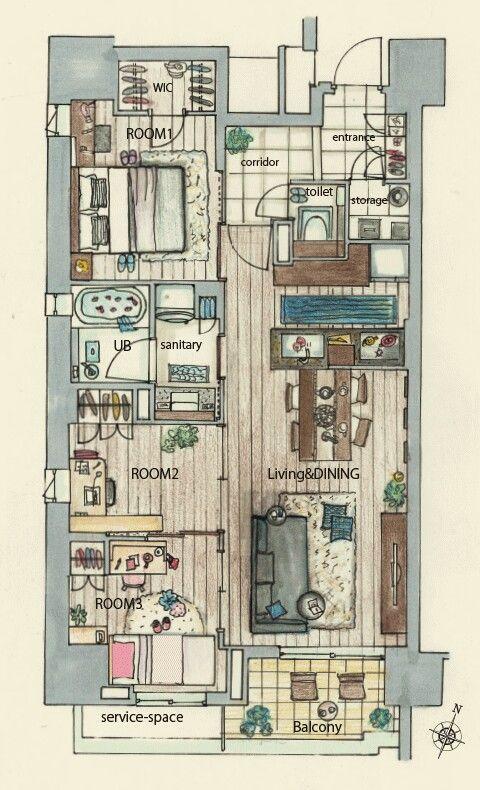 화정실과 욕실의 분리 새로운 변화 인듯합니다 화장실을 출입구쪽으로 옮기고 세탁실과 욕실을 합친것은 새로운 변화 입니다 インテリアデザインのスケッチ 建築スケッチ 間取り図