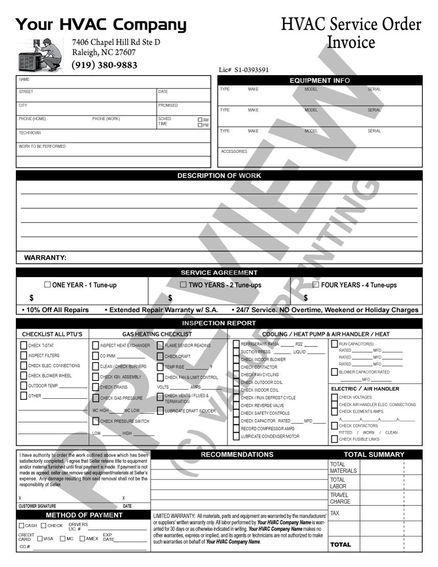 Here is a TuneUp Checklist invoice that does double duty