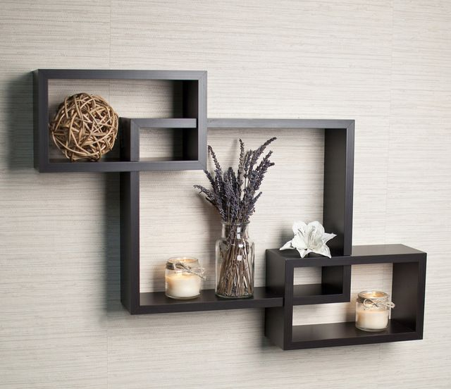 Intersecting Espresso Wall Shelf Contemporary Wall Shelves Wall Shelf Decor Wall Shelves Design Wooden Wall Shelves