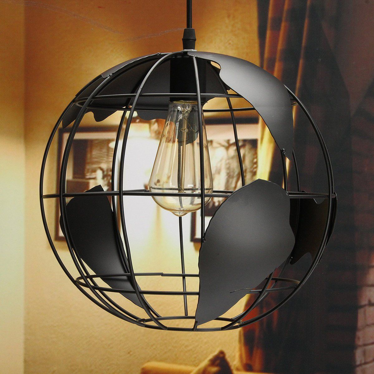 home office ceiling lighting. Retro Globe Ceiling Light Pendant With Map Metal Shade Home Office Decor Lamp Lighting