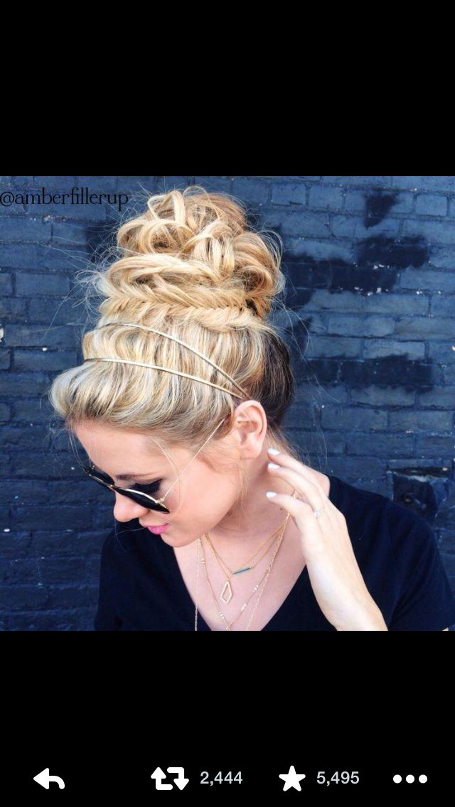 Braided high messy bun I must learn how to do this!!!!