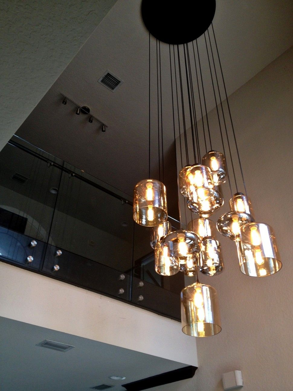 Foyer Cascading 24 Bulbs Glass Chandelier For Entry Modern House
