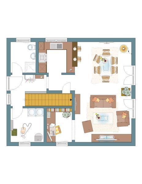 NEO 111 Erdgeschosss- u/o Gästezimmer abgeteilt vom Wohnzimmer - offene kuche wohnzimmer grundriss
