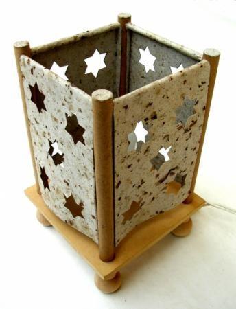 Lampara en papel reciclado - Lamparas de madera ...