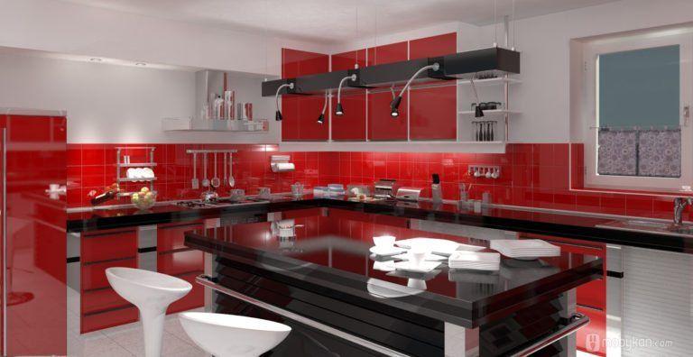 صور مطابخ حديثه و اشكال مطابخ مودرن و مميزه من موبيكان Kitchen Colors Red Kitchen Decor Red Kitchen Cabinets