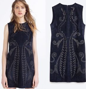 ZARA Real Leather/Suede Dress With Metallic Detail Size M | eBay