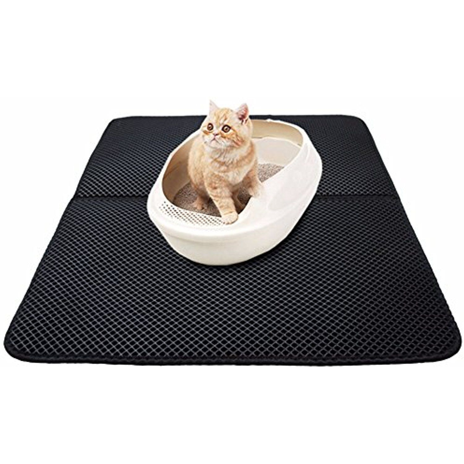 9f19bf81c Rumfo Cat Litter Trapper Mat With Exclusive Urine/ Waterproof Layer, Double  - Layer Honeycomb Scatter Control Mat - Protect Floor and Carpet Urine  Proof, ...