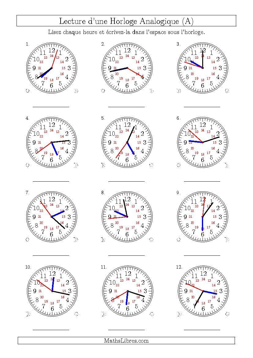 Lecture de l'Heure sur Une Horloge Analogique avec 1 Minute ...