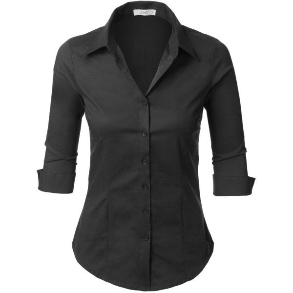 277dd1059 LE3NO Womens Roll Up 3/4 Sleeve Button Down Shirt with Stretch ($7.99) ❤  liked on Polyvore featuring tops, 3/4 sleeve button up shirt, button down  top, ...