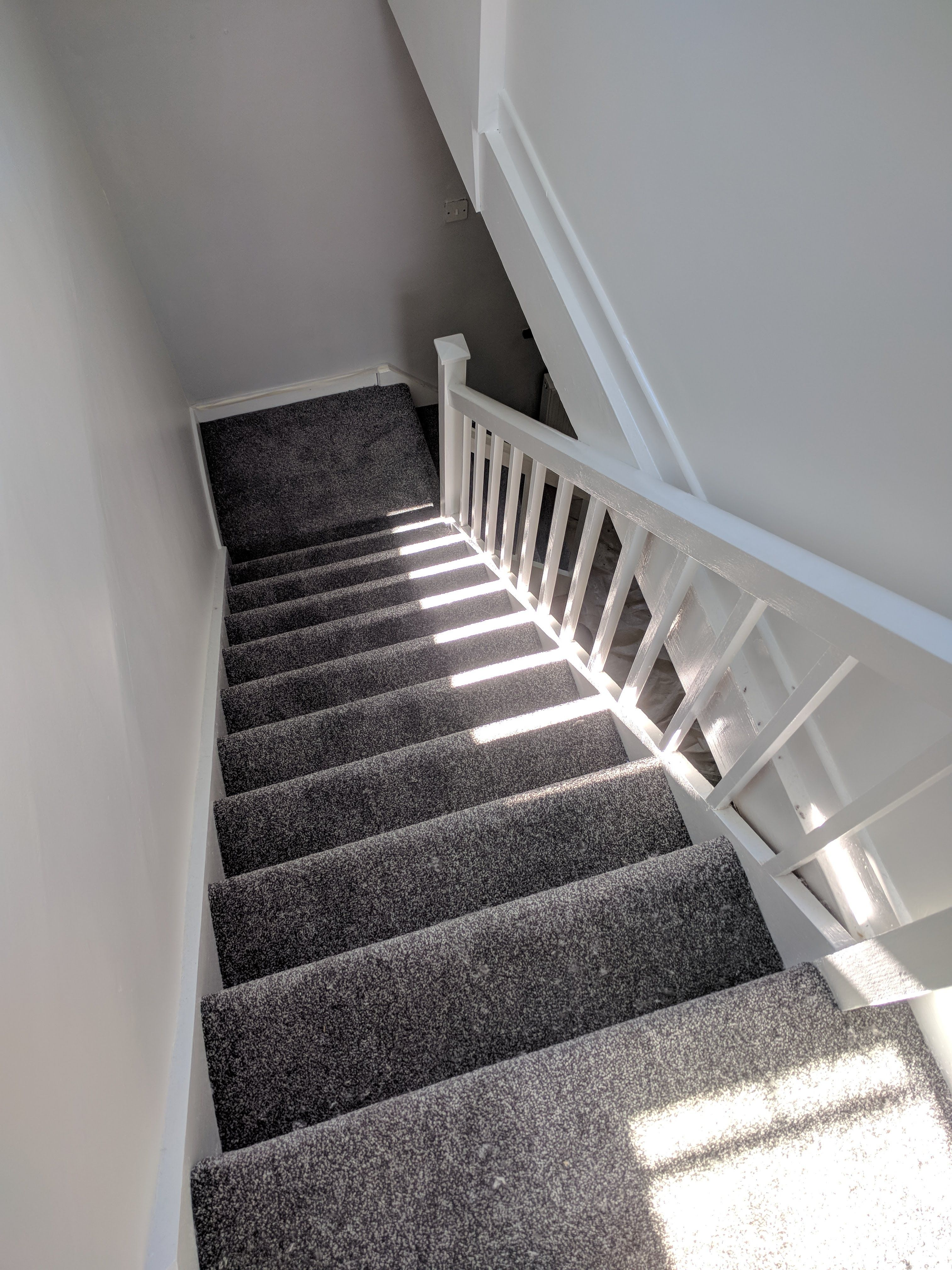Dark Grey Carpet Install On Stairs And Landing Grey Stair | Dark Carpet On Stairs | Gray | Monochrome | Wall | Modern | Metal Bar On Stair