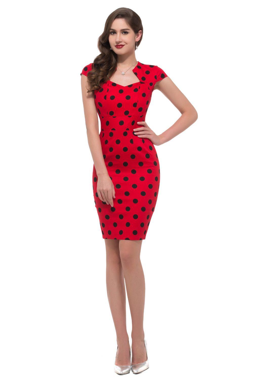Black Polka Dot Red Dress Womens Vintage Pinup Rockabilly V Neck ...