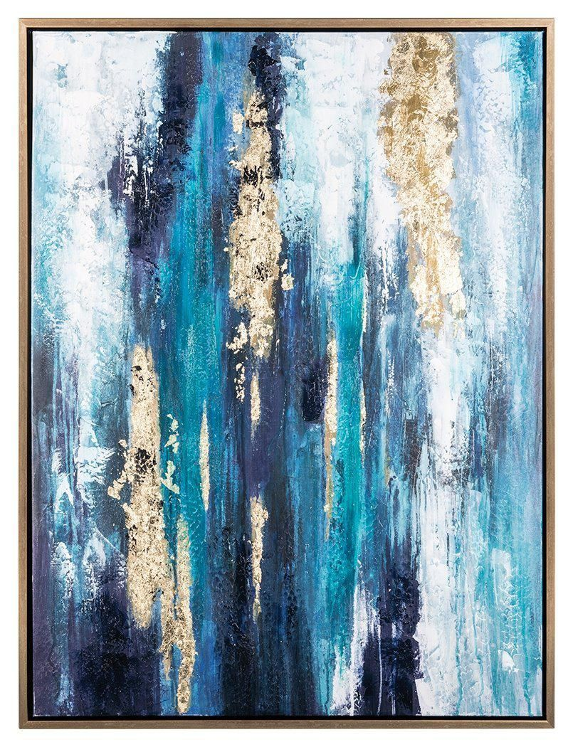Hand Painted Original Abstract Modern Art Contemporary Painting Abstract Gold Blue Wall Art Decor Tex Blue Wall Art Modern Art Abstract Framed Canvas Wall Art
