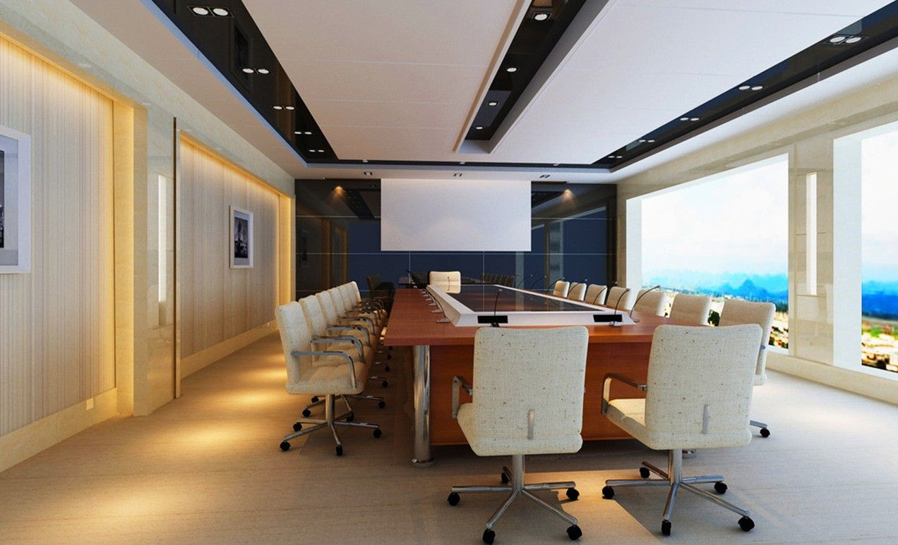 Meeting Room Design Ideas Part - 35: Inspiring Meeting Room Design : Inspiring Meeting Room Design With Big  Window White Wall Wooden Desk Chair Lamp Ceramic Floor