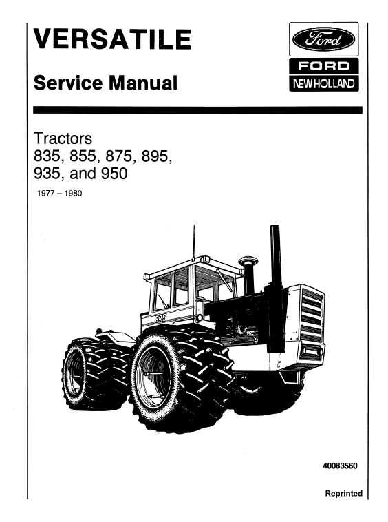 Ford Versatile 835, 855, 875, 895, 935, 950 Tractor