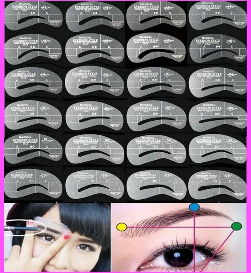 Wholesale 24pcsset Grooming Stencil Makeup Shaping Diy Beauty