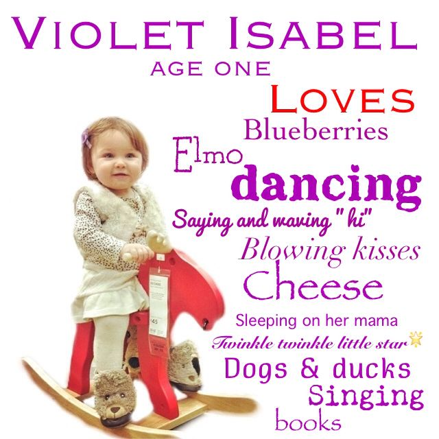 """Violet, age one, loves... "" A  precious way to document your child's personality through the years. Apps used: juxtaposer, snapseed, phonto, and instagram."