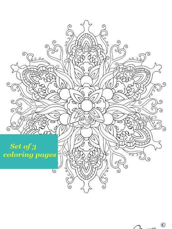 Masja's Mandala set of 3 hand-drawn Coloring por MasjasArtwork