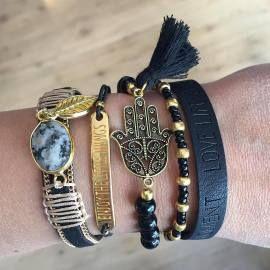 Enjoy Little Things Black Bracelet stack