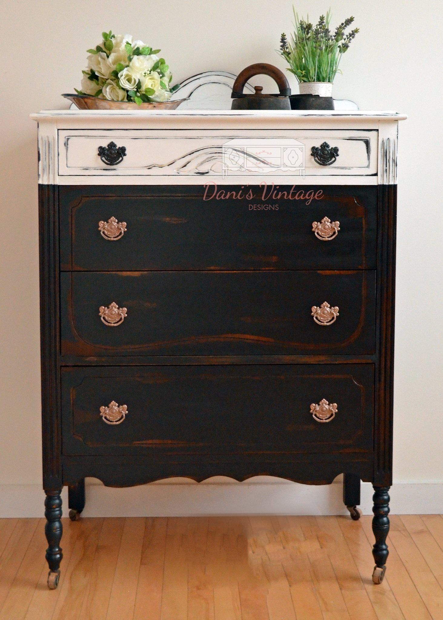 Black and white antique dresser white painted dressers