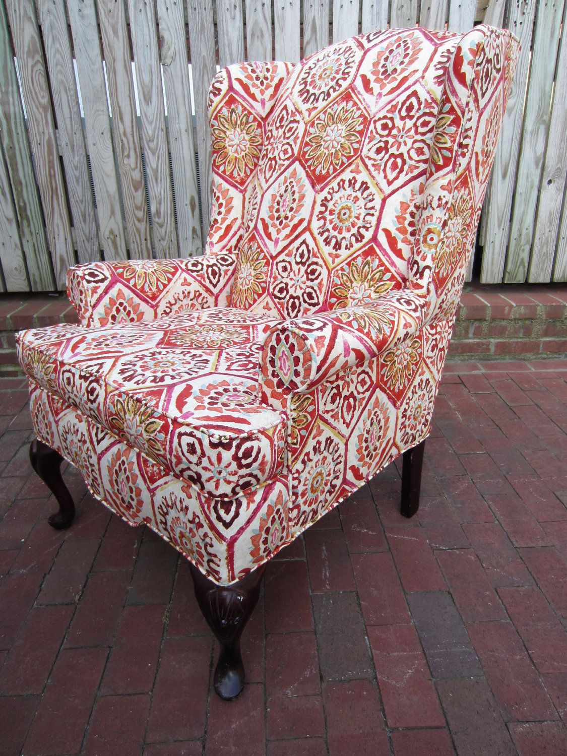 Etsy Wing Back Chair Moroccan Red Print 395 00 Decoracao De