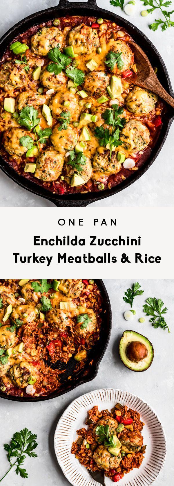 One Pan Enchilada Zucchini Turkey Meatballs & Rice | Ambitious Kitchen