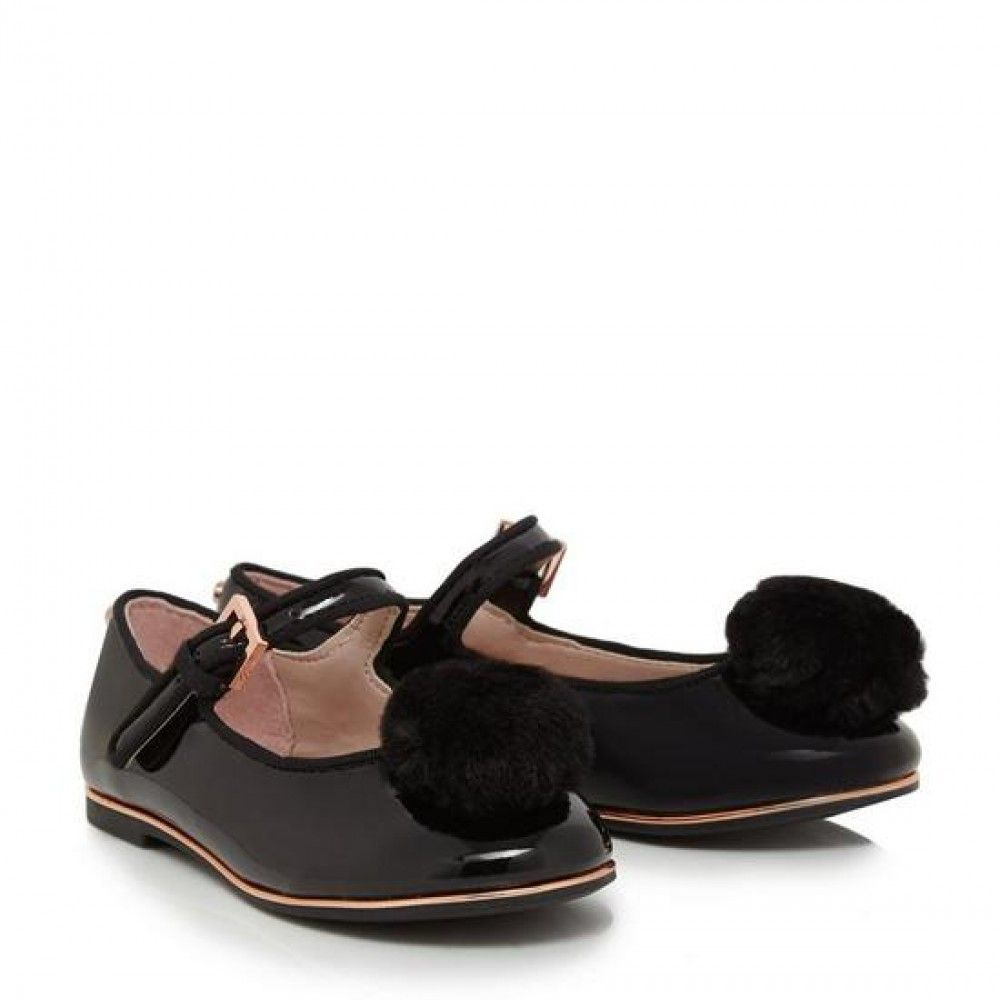 Girls' black patent pom pumps'- Size 38