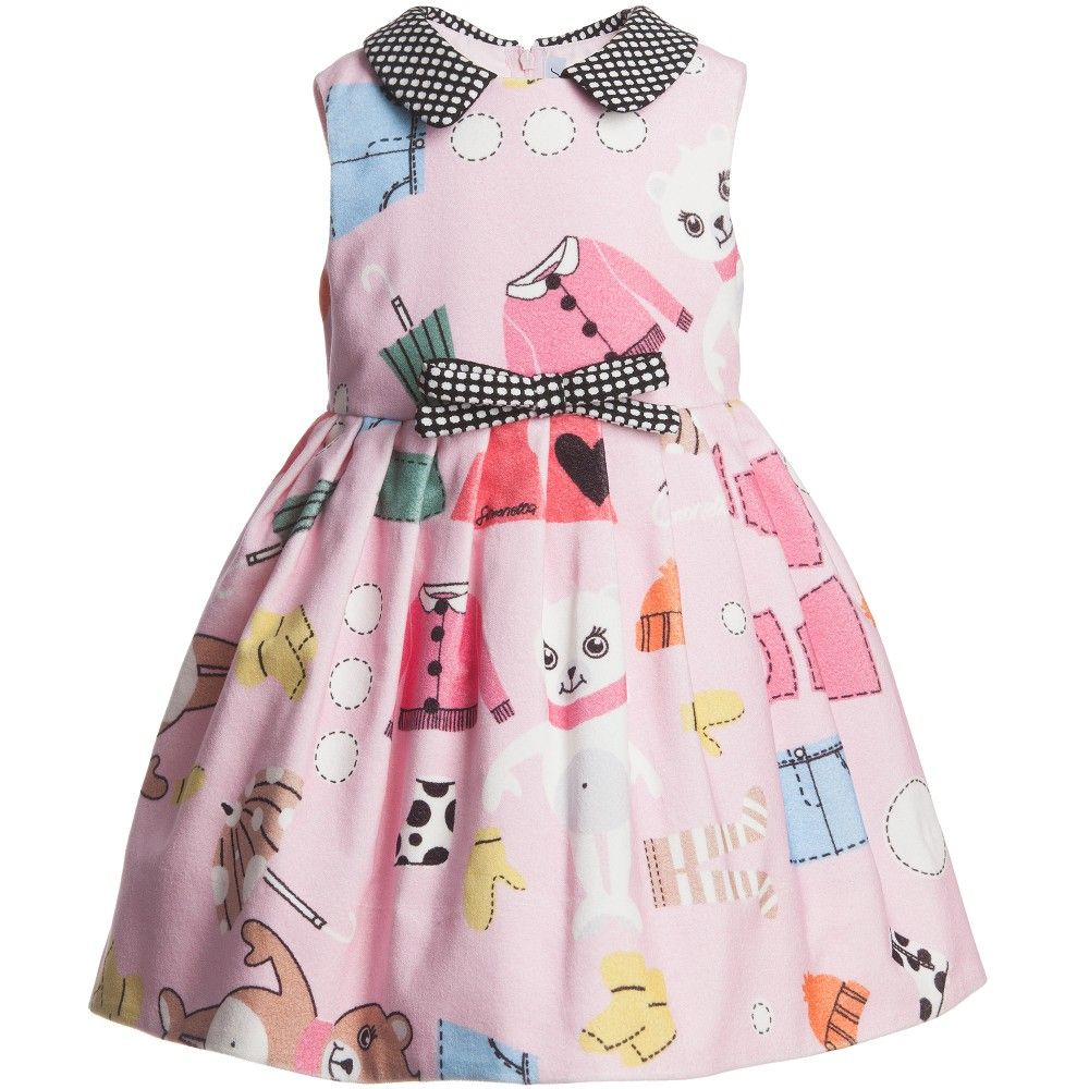 Pink Cotton Teddy and Paper Doll Dress, Simonetta, Girl