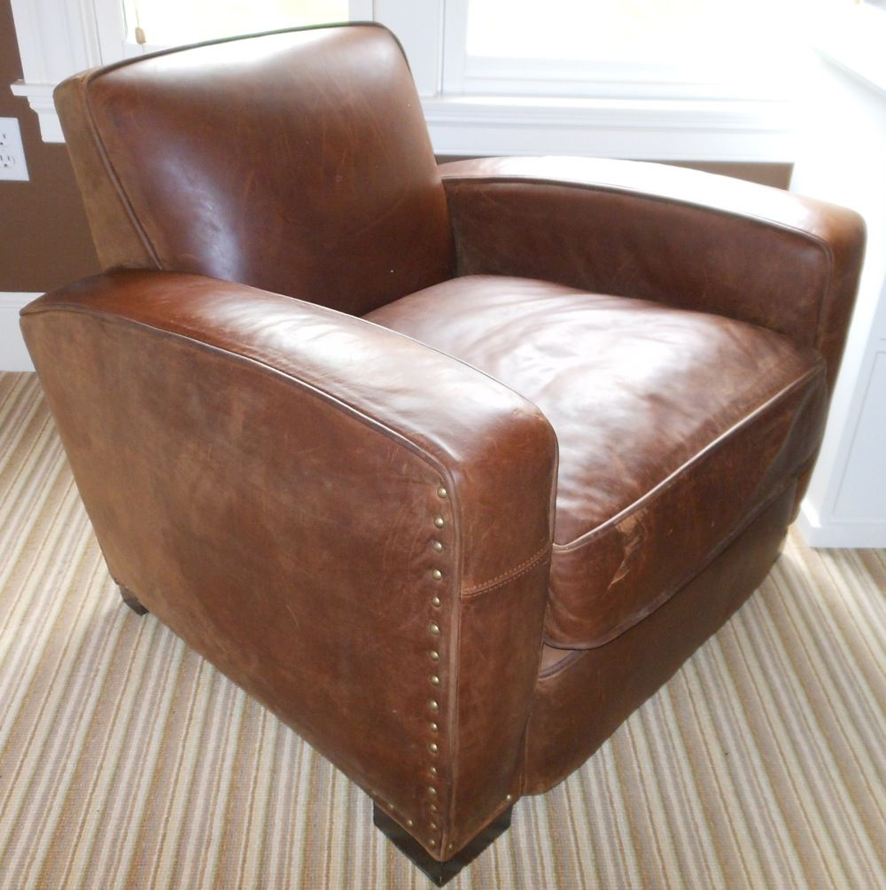 "Restoration Hardware leather ""Library"" chair"