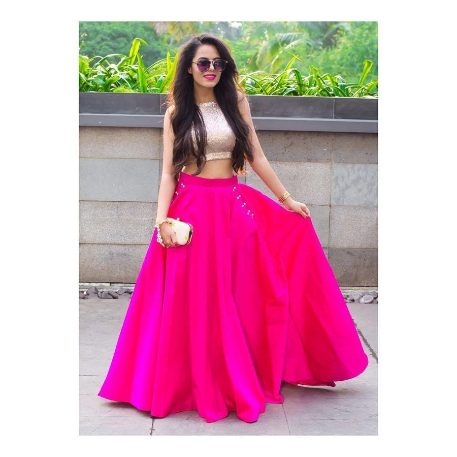 e4d06e2709 Pink And Golden Taffeta Silk Solid Lehenga With Crop Top | Lehenga ...