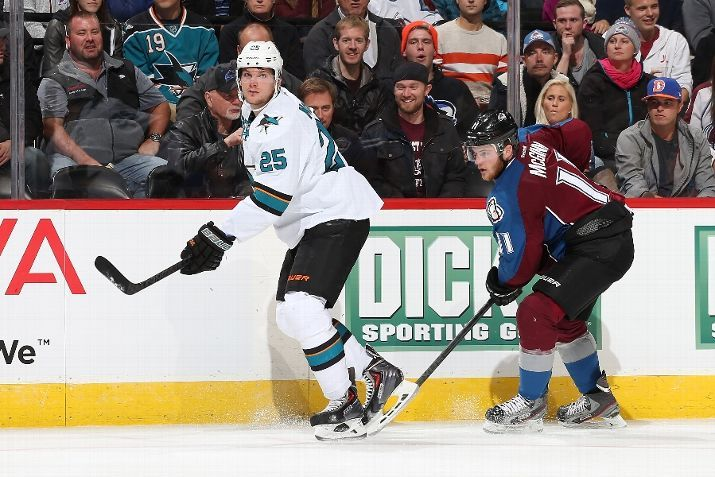 San Jose Sharks forward Tye McGinn plays for the first time ever against his brother Jamie McGinn of the Colorado Avalanche (Oct. 28, 2014).