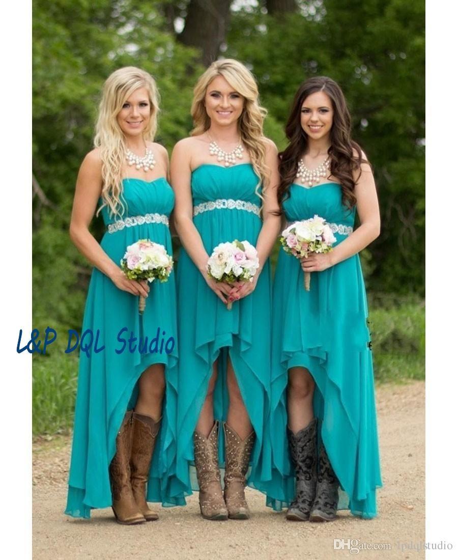 Country Bridesmaid Dresses Chifon Hi-Lo Bridesmaid Dresses Sumemr ...