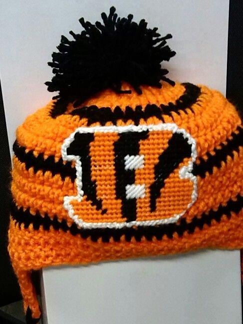 0aab5c7d Close pic of my new design bengals hat | Crochet Sports | Crochet ...