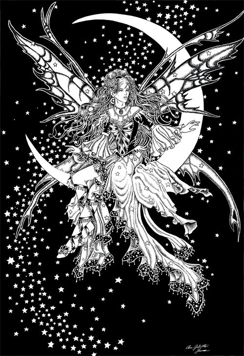 Black and white fairie | Fairy coloring pages, Fairy ...