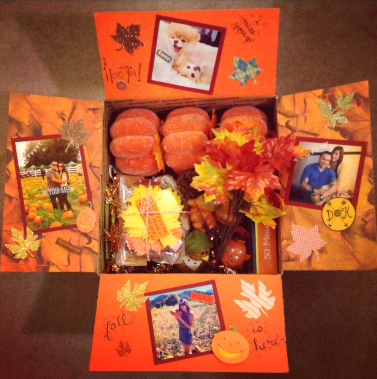 Fall Decorations care package. Inside: ALL 99 cent store items. 3 pumpkins, 2 shiny garlands of fall leaves, pkg of foam leaves & turkey's, bundle of pine cones, acorns & pumpkins, light up turkey, squirrel, box of mini orange lights, pkg of 8 thanksgiving cut outs for wall decor, orange bottom felt table cloth & 5 bundles of silk Fall leaves.