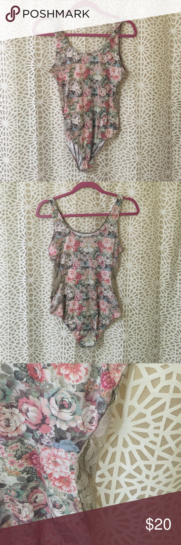Vintage-rose print leotard with lace cutouts BDG brand from Urban Outfitters. Scoop Neck onesie leotard with scoop neck and slimming lace cutouts on the sides. Bikini cut coverage in the back and snap closure at the crotch. AS IS: one of 3 snaps is broken BDG Other