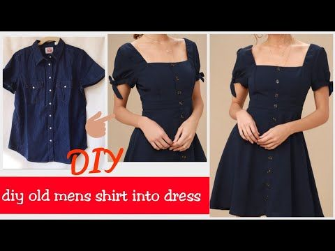 DIY OLD MEN SHIRT INTO CUTE BOW TIE DRESS( HINDI) / REUSE OLD MEN SHIRT