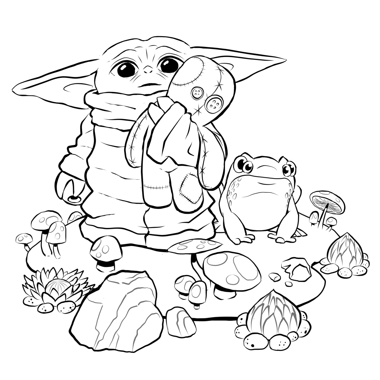 TieFighters — Baby Yoda Coloring Page Art by Tony Helms  IG