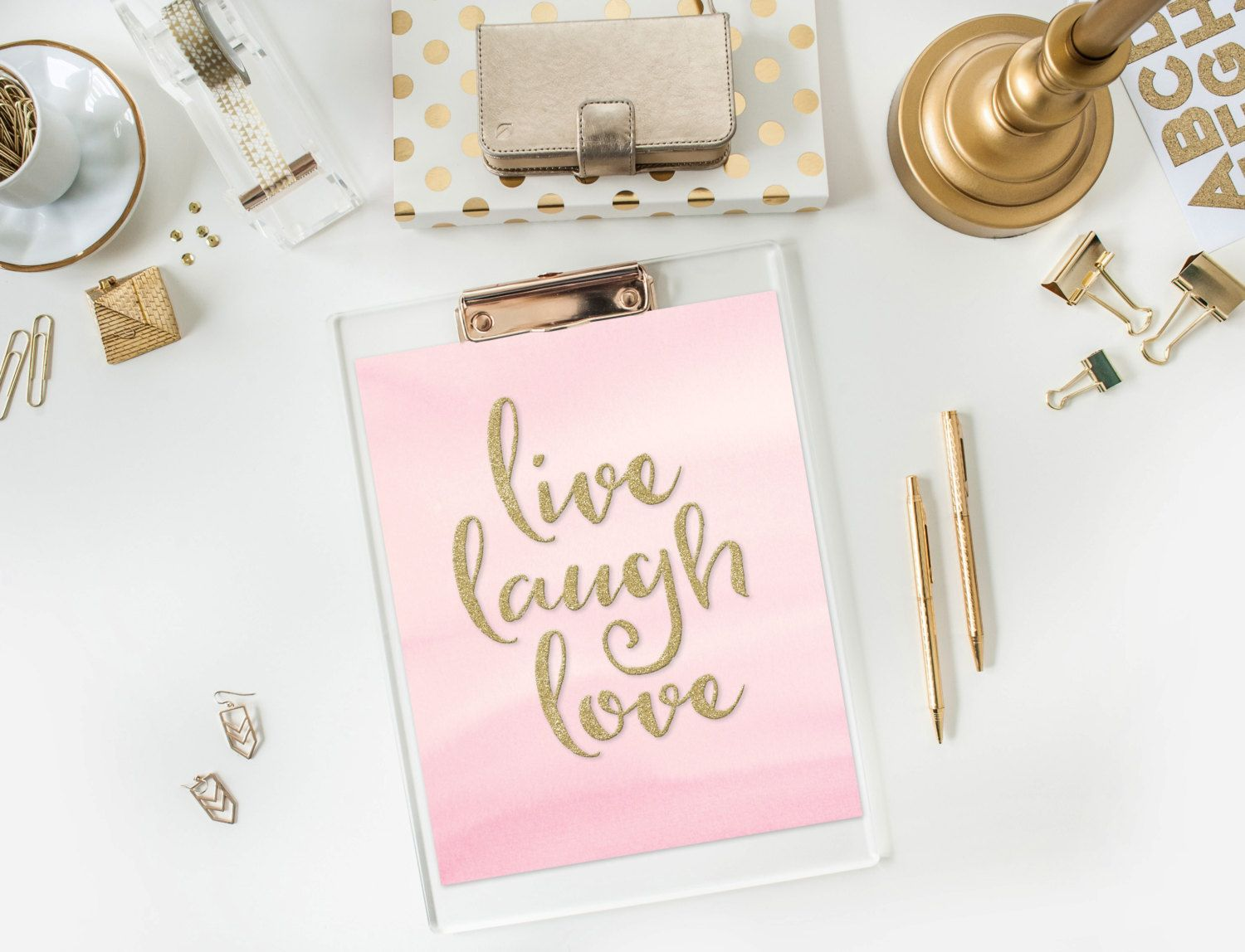 Live Gold Quotes Fascinating Live Laugh Love Pink & Gold Glitter Print Quote Print 8X10