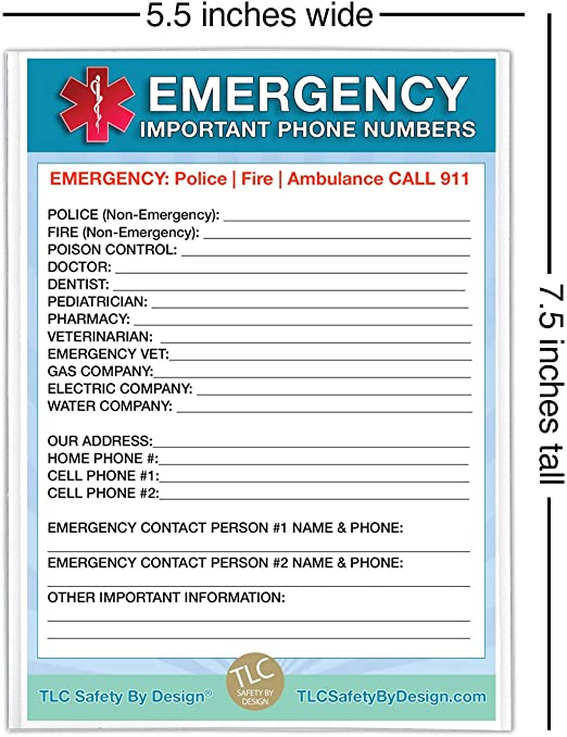 Amazon Com Emergency Contact Cards In Magnetic Sleeve Home Alone 5 X 7 Doctor Approved Refrigerator Safet Emergency Contact Emergency Contact List Emergency